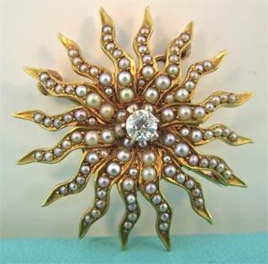 Antique Pearl Sunburst Brooch