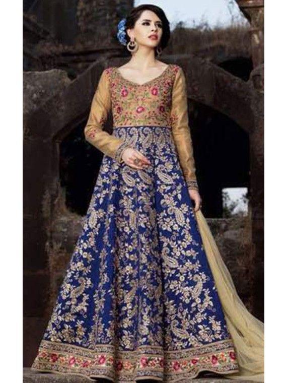 Flowerlike Golden  and Royal Blue Anarkali salwaar suit