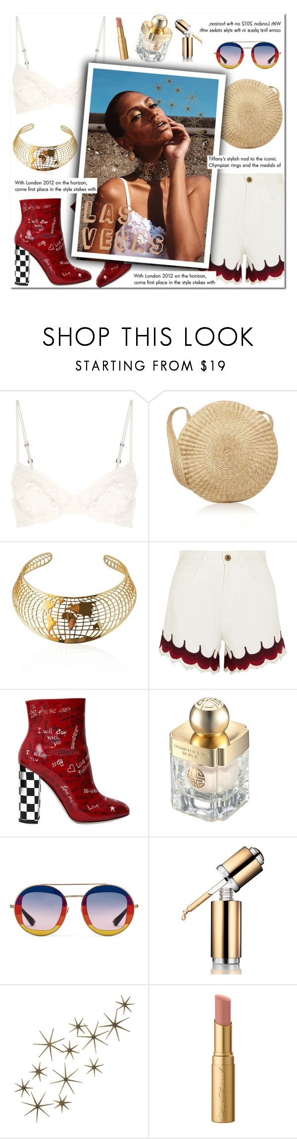 """How to Style  White Embellished Denim Shorts with a White Lace Bra Top, Red Summer Booties, a Straw Bag and Gold Choker for Travel to Las Vegas this Summer"" by outfitsfortravel ❤ liked on Polyvore featuring Chloé, Dolce&Gabbana, Shanghai Tang, Gucci, La Prairie, Global Views, Tiffany & Co. and Too Faced Cosmetics"