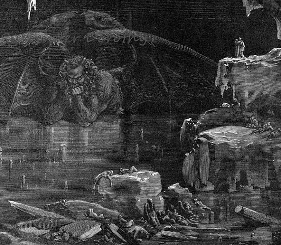 Lucifer King Of Hell Frozen In Ice Dante Inferno Canto 34