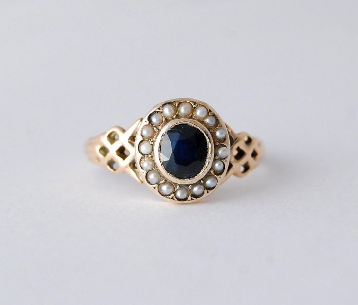 Antique Georgian Rose Gold Sapphire and Seed Pearl Cluster Ring