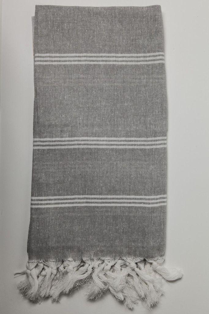 Ottoloom Zanzibar Turkish Hamam towel in grey