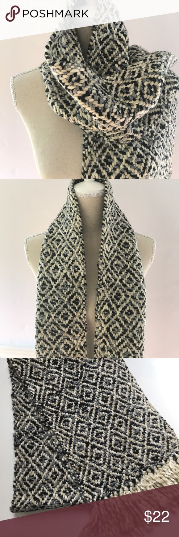 """Loft Scarf Ann Taylor Loft Scarf Black, Gray, and Cream colored with Cream Tassles on each end. Measures 73"""" long x 9.5"""" wide. Heavy duty Scarf would pair well with winter jacket or sweater. Never Worn LOFT Accessories Scarves & Wraps"""