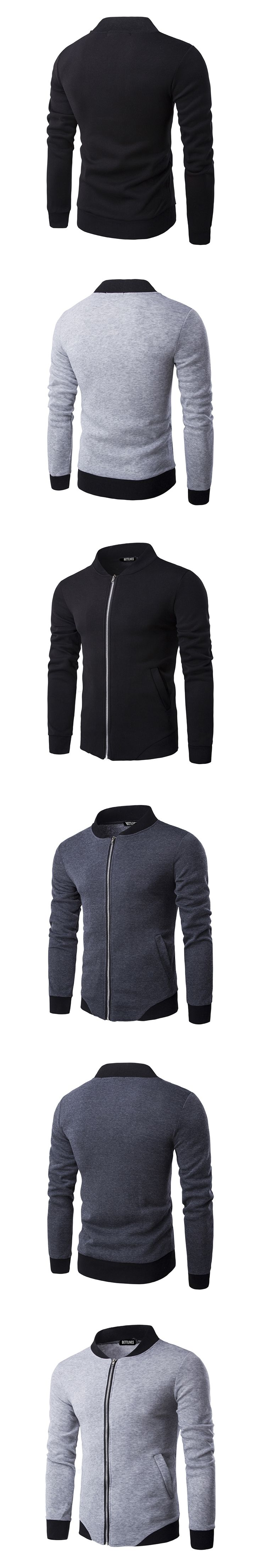 Fashion Men's College Jacket Stand Collar Cotton Zipper Coat Male Casual Long Sleeve Baseball Varisty Mens Jacket Slim Fit B3156