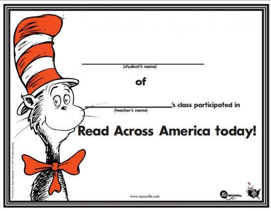 Great FREE Dr. Seuss Read Across America Certificate. Everyone likes certificates!