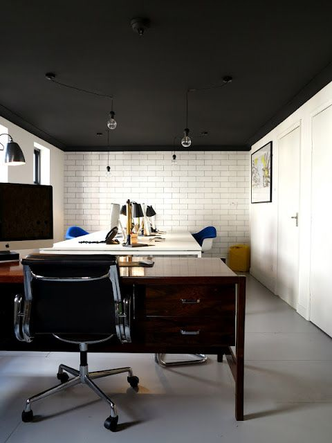 gray industrial floor paint. Off black ceiling by Farrow and ball