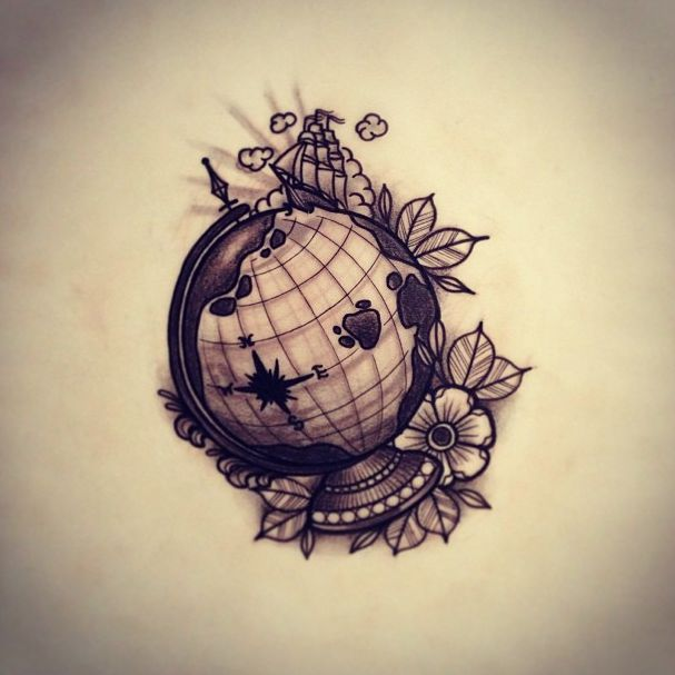 kinda like the idea of a globe to incorporate into a travel tattoo on my side. hmm, the ideas!