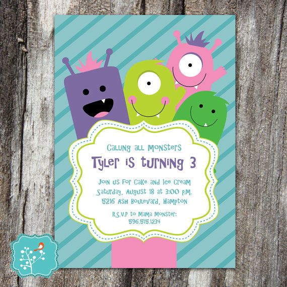 Monster Birthday Party Invitation, Little Monster Bash, Monster Birthday, Monster, Little Monster Birthday Party, DIGITAL PRINTABLE FILE
