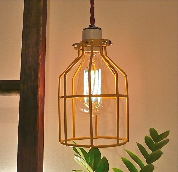 Also by Huck Duck. YELLOW BIRDCAGE LAMP w/ ceramic socket.