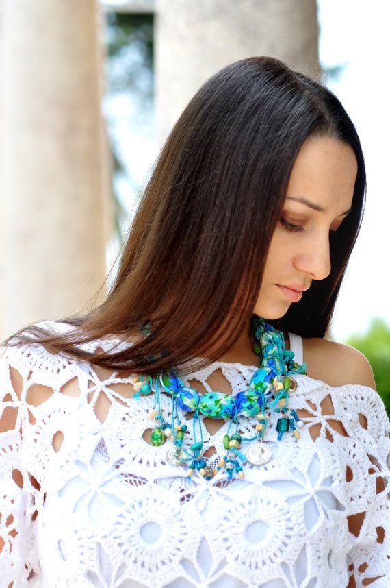 Necklace Boho Turquoise Fabric Beads Necklace Boho by Monpasier