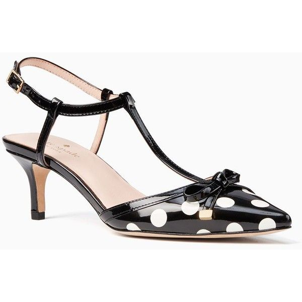 Kate Spade Pomona Heels featuring polyvore women's fashion shoes pumps bow shoes kate spade pumps dot shoes kate spade polka dot shoes