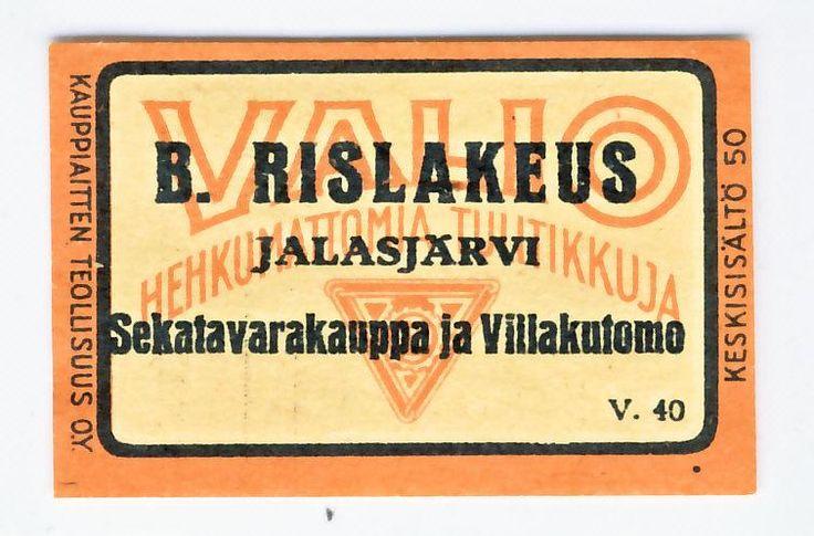 Rislakeus Jalasjärvi Sekatavarakauppa ja Villakutomo  #etiketti #tulitikku
