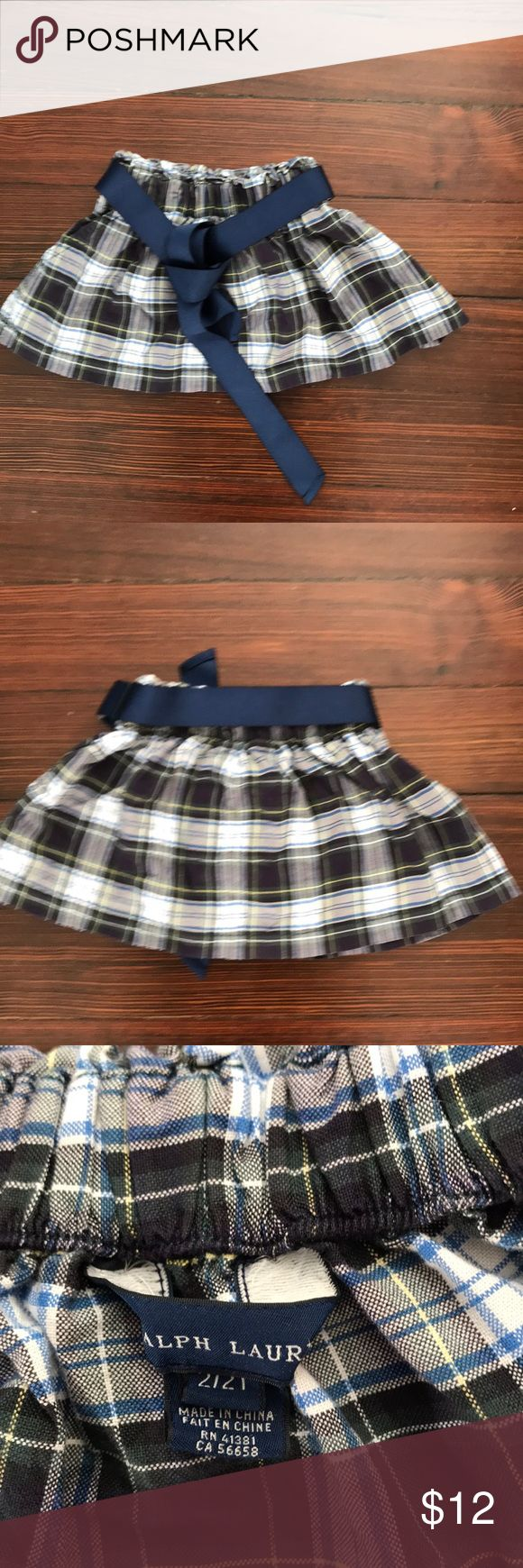 Toddler girl tartan skirt by Ralph Lauren. S 2T. Toddler girl tartan skirt. With blue canvas belt. Colors white, green, yellow and blue. 2 front pockets. 100% cotton. Very cool condition. Ralph Lauren Bottoms Skirts