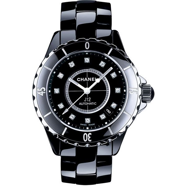CHANEL J12 Black 38MM Ceramic Watch with Diamonds (24,505 PEN) ❤ liked on Polyvore featuring jewelry, watches, ceramic crowns, ceramic jewelry, chanel jewelry, diamond jewellery and diamond watches