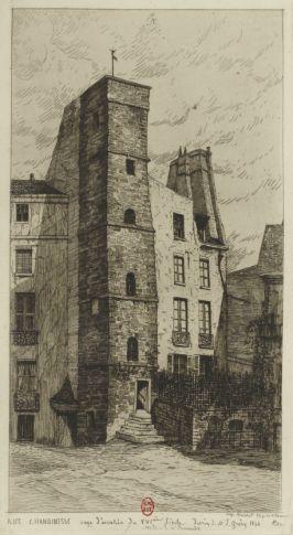 Rue Chanoinesse cage d'escalier du XVIe siècle | Dessin de M. E. Grésy, 1844 | collection de M. Bonnardot