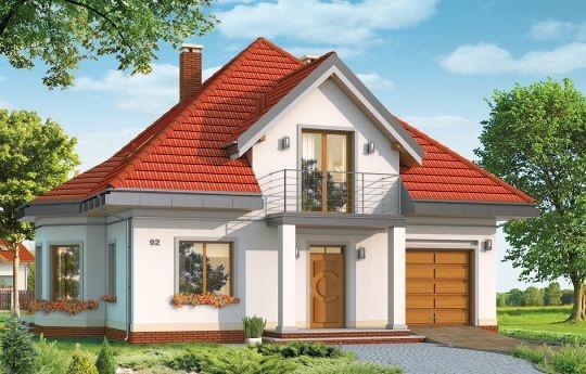 Projekt Agatka to dom dla cztero-pięcioosobowej rodziny, budynek parterowy z poddaszem użytkowym przykryty kopertowym, czterospadowym dachem. Dom zaprojektowano w spokojnej stylistyce z przenikającymi się tradycyjnymi i nowoczesnymi detalami. Zwarta bryła budynku z wbudowanym garażem, została ozdobiona lukarnami z balkonami, wykuszem jadalni, oraz narożnym podcieniem salonu. Prosta, czytelna bryła podkreśla elegancję zewnętrznej architektury budynku.