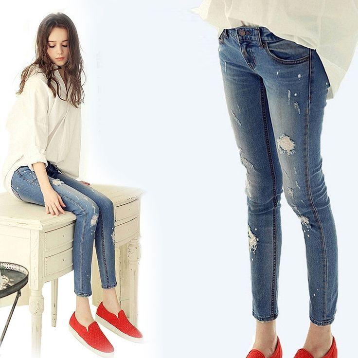 2015 , лето , новый изношен отверстие джинсы женские ноги карандаш брюки стрейч джинсы прилив джинсы женщина джинсы женщин