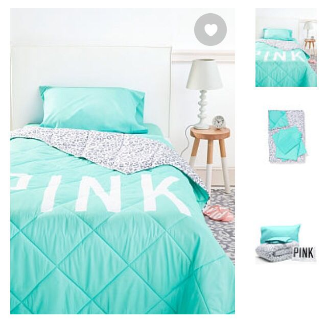 Victoria secret PINK teal bedding set  Comforter sheets&pillow cases all for $149