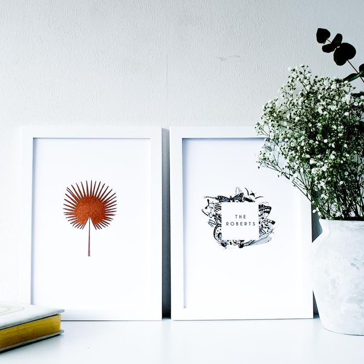 Personalised Copper Botanical Print Set  Office wall art print