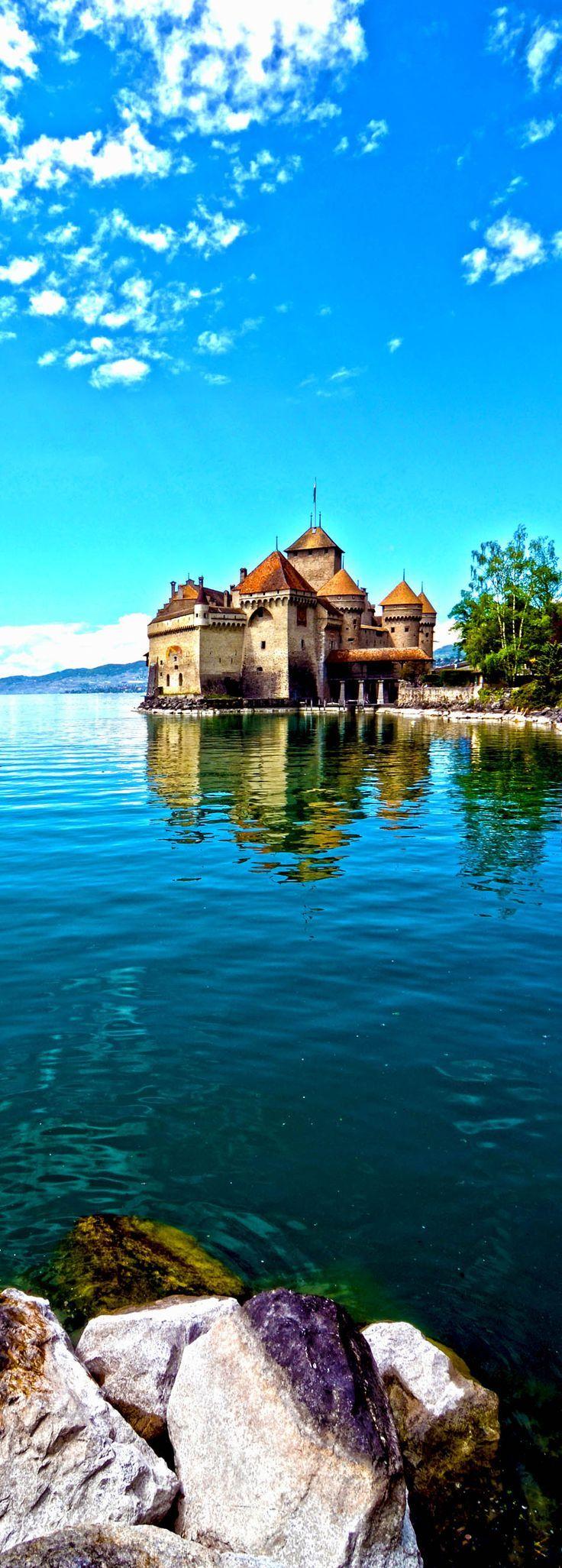 Chillon Castle at Geneva lake in Switzerland