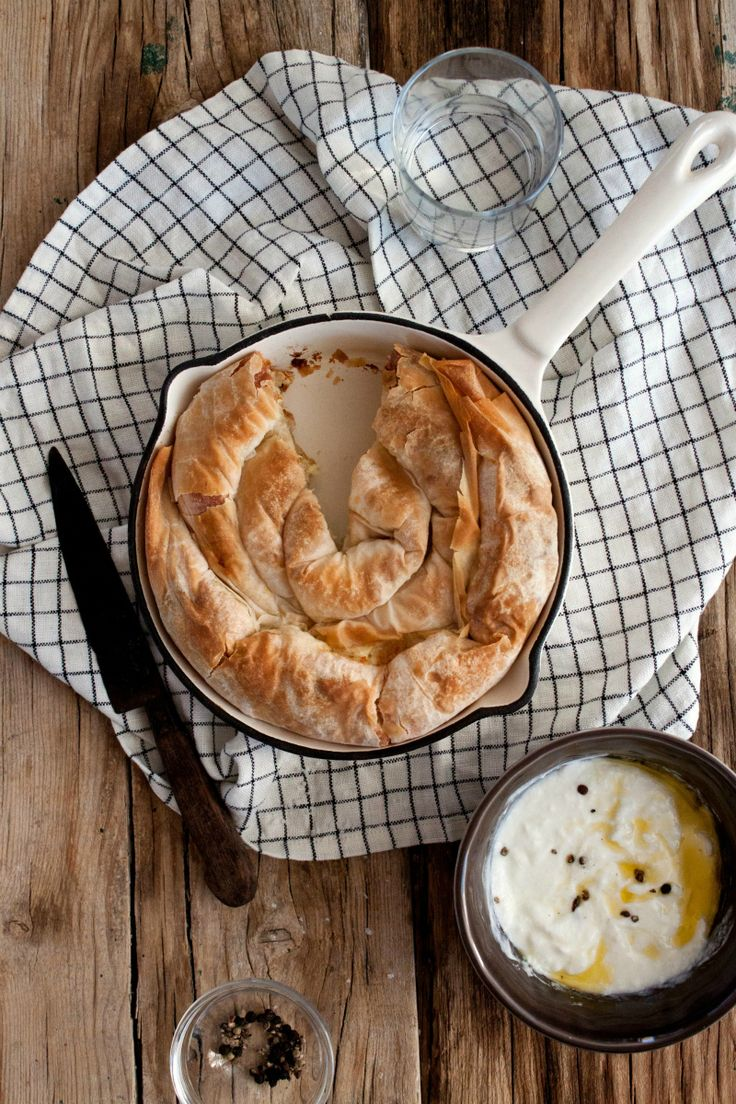 Burek..(with feta, cottage cheese + filo. serve with yogurt)  oh how much I miss you Little Upside Down Cake