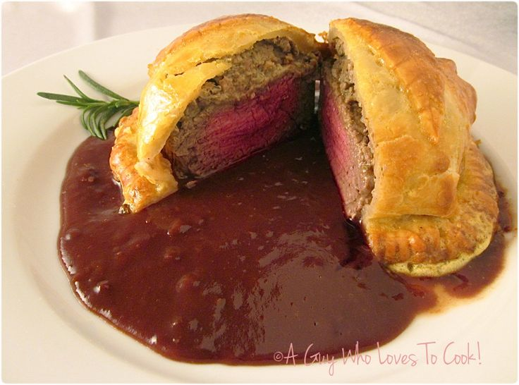 Beef Wellington with Cumberland Sauce (pinned for the Cumberland Sauce recipe) recipe uses pie crust instead of puff pastry.  Sauce looks yummy!