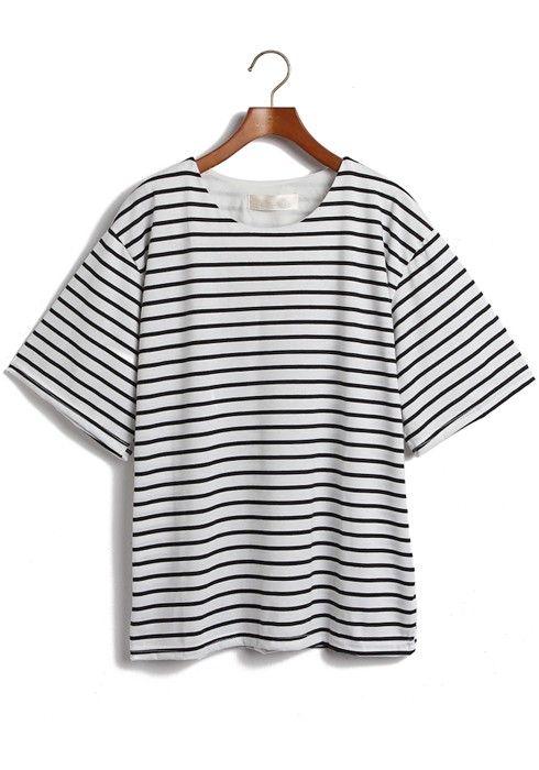 ++ White Striped Round Neck Bat Sleeve Cotton T-Shirt
