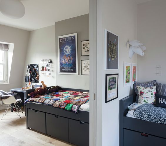 Shared Bedroom Ideas for Kids: Two bedrooms separated by pocket door; beds have storage underneath
