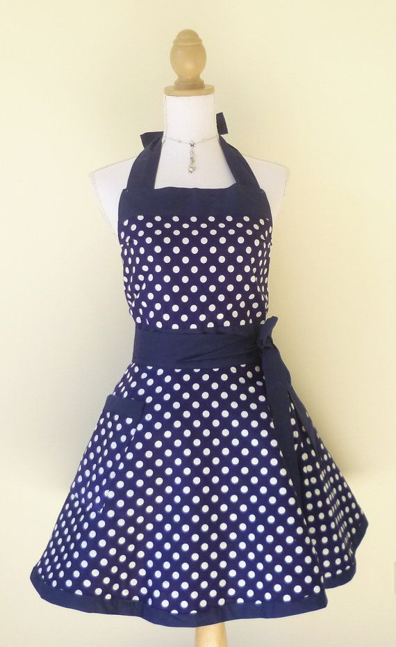 Cute Retro Apron - Navy Blue and White Polk-a-Dot Reversible Sweetheart Apron