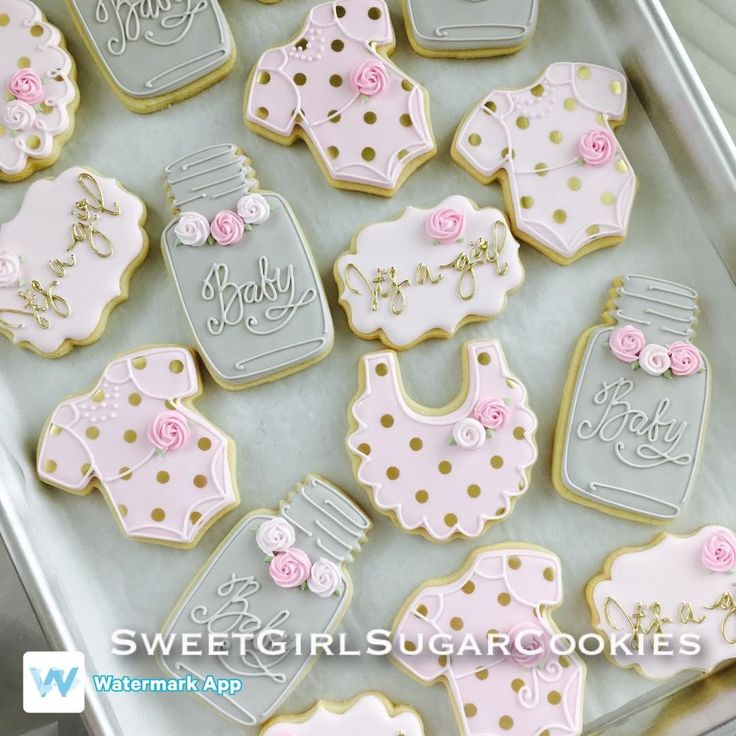 "32 Likes, 1 Comments - Erica Adams (@sweetgirl_sugarcookies) on Instagram: ""#shabbychiccookies#babyshower#itsagirlcookies#goldpolkadots"""