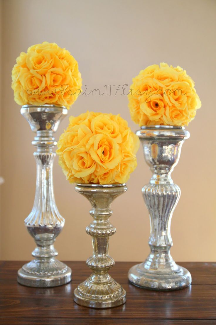 Wedding decorations yellow and gray   best yellow weddings images on Pinterest  Wedding ideas Yellow