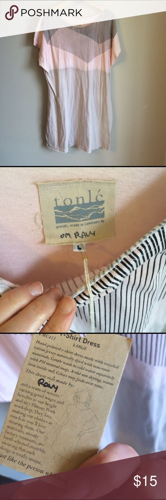 """Tonle Cambodia Basic TShirt Dress 100% Remnant Cotton. Pink and grey with screen print design. 38.5"""" long. Dresses"""