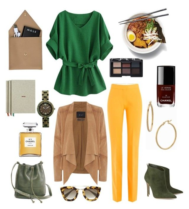 """""""Lunch with boss"""" by raffaellapapami on Polyvore featuring Victoria, Victoria Beckham, Gianvito Rossi, Oui, Most Wanted, Prada, Chanel, NARS Cosmetics, Bony Levy, WeWood and HAY"""