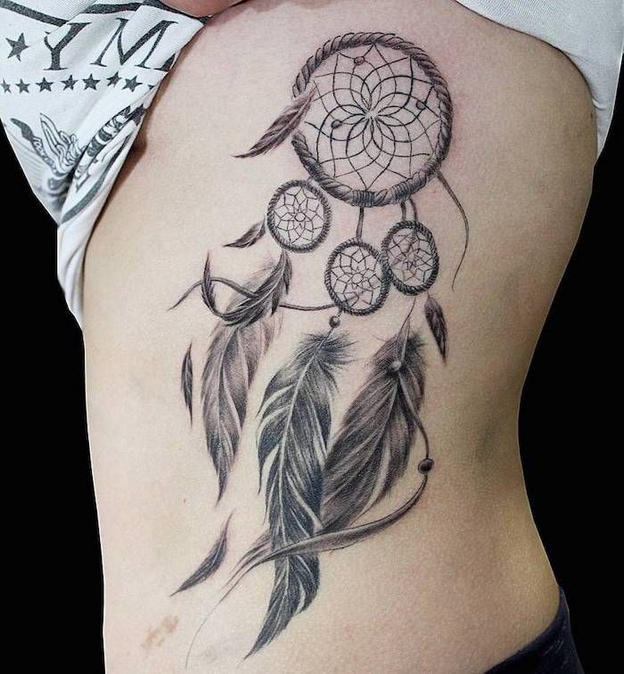 White T Shirt Black Background Dream Catcher Tattoo For Men On This Side Of The Stomach In 2020 Dream Catcher Tattoo Dream Catcher Tattoo Design Tattoos