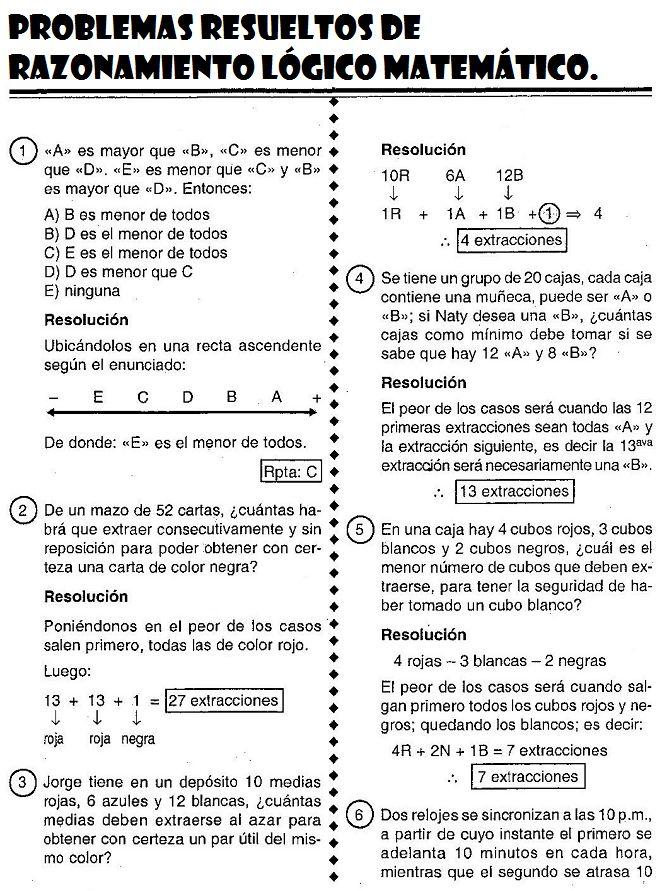 Razonamiento Lógico Matemático : Problemas Resueltos de Razonamiento Lógico Matemático