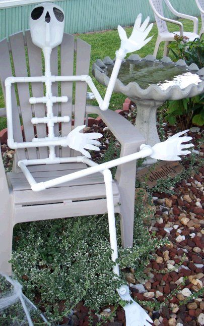 Make this full size skeleton out of inexpensive PVC pipe and 2 milk jugs. Great family project for Halloween.