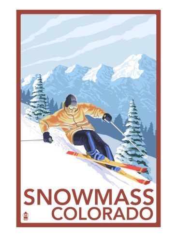 Snowmass, Colorado - Downhill Skier Prints by Lantern Press at AllPosters.com