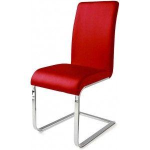 Gezien op Beslist.nl: Sledestoelen Lotto (2-delige set) - rood chromen frame