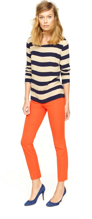 I love the stripes with the pants, but I WOULD NOT wear orange pants. It would have to be another color.