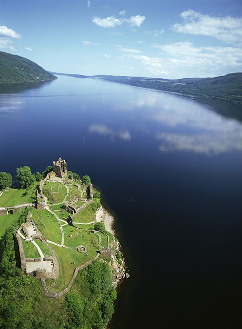 Urquhart Castle ruins on Loch Ness, Inverness, Scotland - The remnants of this beautiful 13th century structure represent what was once one of the largest strongholds of medieval Scotland. If you're lucky, you may catch a glance of Nessie, the Loch Ness Monster, while visiting.