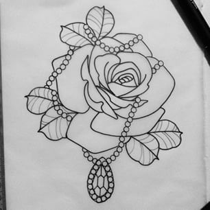 rose and pearl tattoo - Add green for leaves, dark pink/red for the rose and change the pendant to a cross!