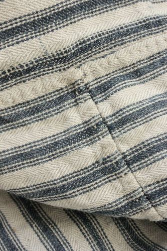 Wonderful French linen ticking fabric ~ Gorgeous antique tick mattress cover fabric ~ beautiful heavy weight , indigo blue stripes ~ www.textiletrunk.com