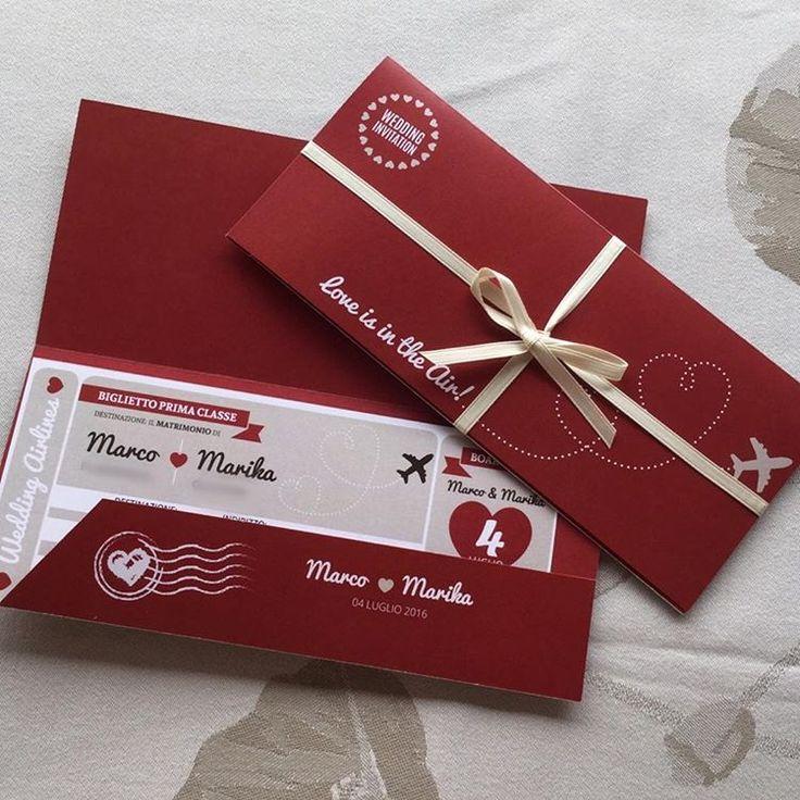 """Partecipazione """"Fly"""", in perfetto stile biglietto aereo ❤️✈️ Personalizzabile nel colore del vostro evento  #partecipazioni #invito #matrimonio #wedding #handmade #bigliettoaereo #aellecreativedesign #bordeaux #graphic #nozze #inviticreativi #invitioriginali #instalove #instapic #fly"""