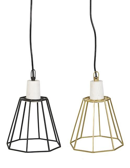 Venus Iron Cone Pendant in Black Frame/White Marble and Brass Frame/White Marble #globewest #furniture #lighting #style #contemporary