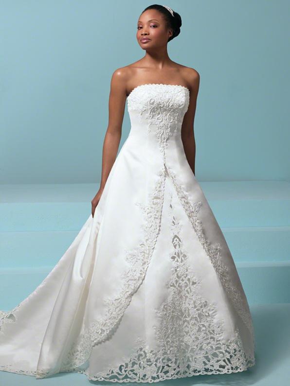 Romantic Strapless Straight Neckline Cathedral Train Ivory Satin Wedding Dress