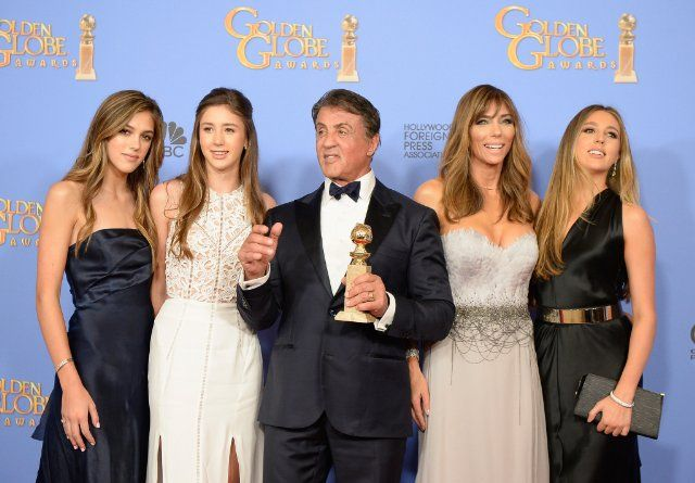 Sylvester Stallone, Jennifer Flavin, Sophia Rose Stallone, Sistine Rose Stallone and Scarlet Rose Stallone at event of 73rd Golden Globe Awards (2016)
