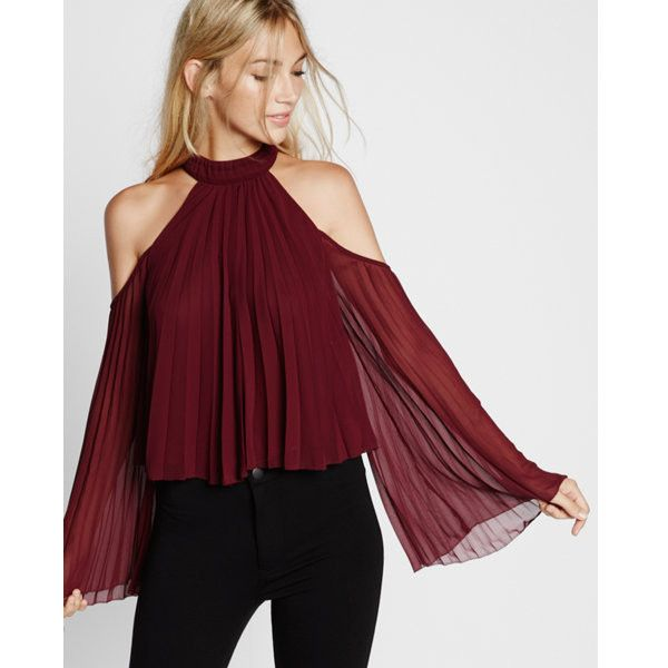 xpress High Neck Pleated Cold Shoulder Blouse ($70) ❤ liked on Polyvore featuring tops, blouses, pink, cold shoulder tops, express blouses, long sleeve tops, high neck blouse and pink chiffon blouse