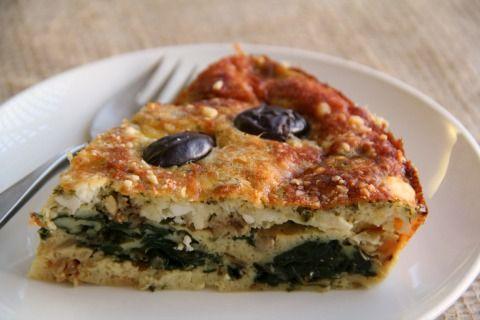 Spinach Feta Greek Impossible Pie for #FamilyDinnerTable #SundaySupper