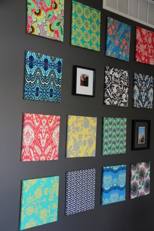 A Single Fat Quarter Stapled To Craft Store Canvases. Love The Bright  Colors Against Dark Wall. Hmmm Now That Is A Crafty Idea