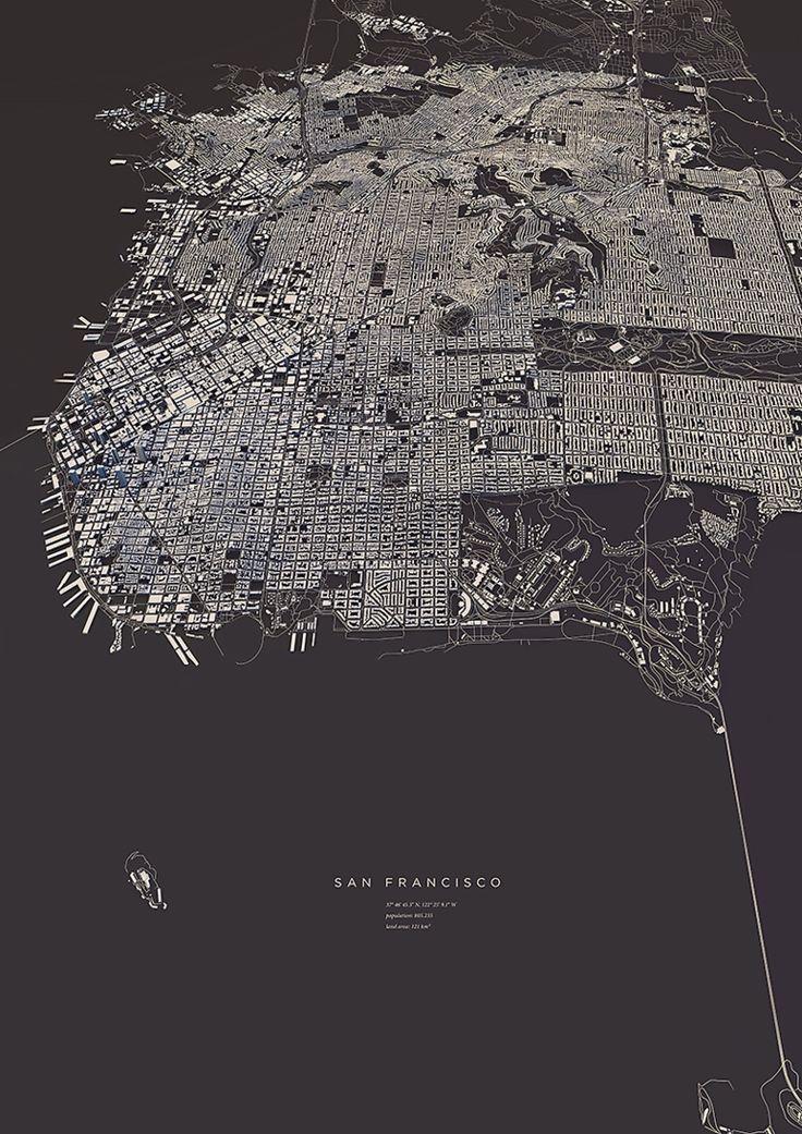 San Francisco city map Art Print by
